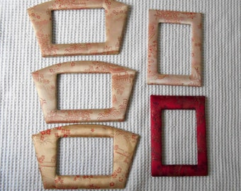 5  vintage Padded Fabric Picture Frames Oriental lustre Fabric