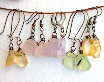 Quartz Earrings - Amethyst, Rose Quartz, Citrine, Prasiolite Green Quartz  - Choose your Quartz - Bohemian Natural Jewelry - Pink Green