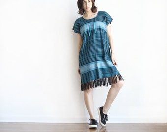 woven fringe multi color kaftan poncho authentic mexican tassle dress