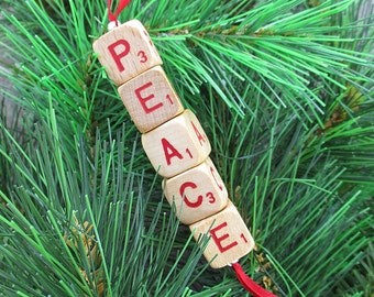PEACE Christmas Ornament - Scrabble RSVP Cube Ornament, Stocking Stuffer, Package Tie-On, Co-Worker Gift