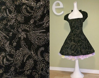 Vintage 80s Party Prom Dress 1980s does 50s Rockabilly Backless BIG BOW Back Black Velvet with Gold Glitter Paisley Holiday New Year's Eve S