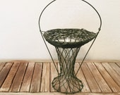 Vintage Green Wire Basket with Glass Vase