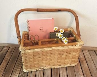 Vintage Ratan Basket Tote