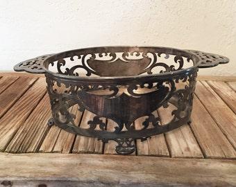 Vintage Ornate Meriden Silver Dish Holder Rogers Bros.