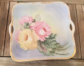 Antique Handpainted Bavaria Plate/ Tray H. Clemenson