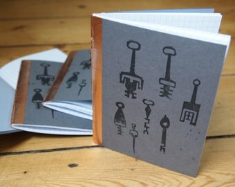 Moroccan Keys - handbound notebook, lino printed cover, squared paper