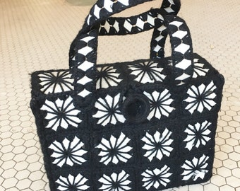 Crochet 1970s Box Style Purse