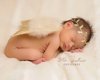 Gold & Tan Feather Angel Wings with Gold Glitter AND/OR Gold Leaf Headband, fotograf, photo prop, Lil Miss Sweet pea