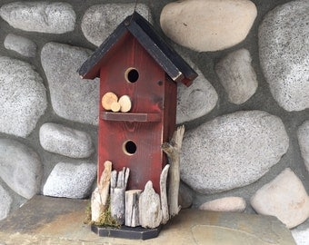 Rustic Red Birdhouse Double Condo House Chickadee Nest Box, Functional Birdhouses For Sale, BH91246