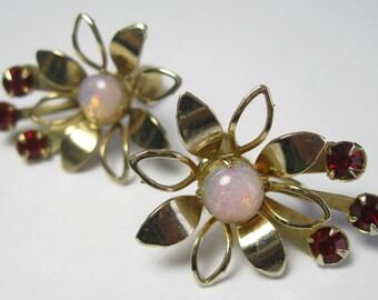 Vintage Earrings - Opal and Ruby Red Rhinestones - Screw-backs.