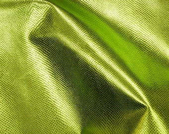 """Leather 12""""x12"""" Light LIME Green Metallic AMAZON COBRA Snake Embossed Cowhide 2.5 oz / 1mm PeggySueAlso™ E2846-04"""