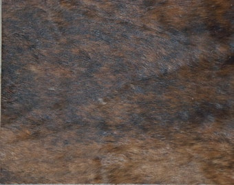 """Hair on Leather 8""""x10"""" BRINDLE Brown with black Cowhide HOH #E9/2 PeggySueAlso™"""
