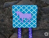 Hair Clip Holder, Hair Bow Organizer, Hair Accessories Display, Horse, Turquoise, Purple, Wall Hanging, Wall Decor, Girls