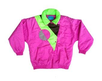 Totally Rad 80s Neon Action Gem Geometric Stripe Ski Jacket - L