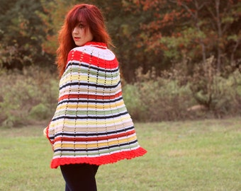 1960s crocheted stripped cape sweater. Size S/M 4, 6, 8