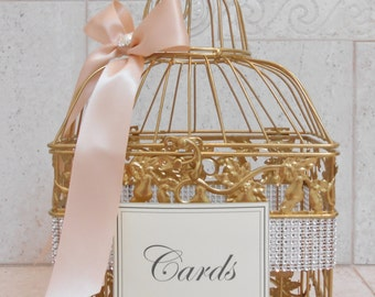 Small Sparkling Blush and Gold Wedding Birdcage Card Holder / Wedding Card Box / Gold Card Box / Wedding Decor