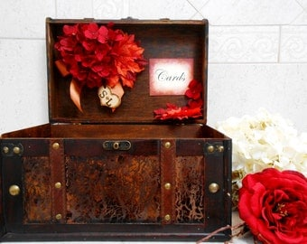 Large Fall Leaves Wedding Card Box / Wedding Card Holder / Wedding Suitcase / Wedding Trunk / Fall Wedding Decor / Personalized Card Box