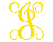 "4"" Vine Monogram Vinyl Decal Sticker - 1 Initial - 26 Colors to Choose From"