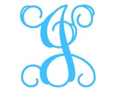 "7"" Vine Monogram Vinyl Decal Sticker - 1 Initial - 26 Colors to Choose From"