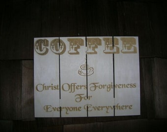 Christian coffee sign Laser engraved pallet board, coffee plaque board, custom laser engraved pallet board, laser pallet board