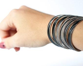 Leather Bracelet / Original Sliced Cuff / Marbled