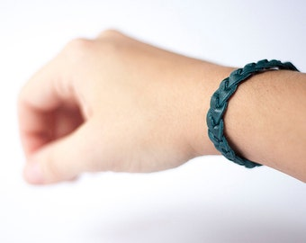 Braided Leather Bracelet / Peacock Teal