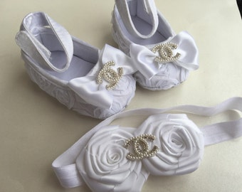Satin rosette baby shoes and elastic headband rhinestone,baby shoes and headband set,  christening baby shoes