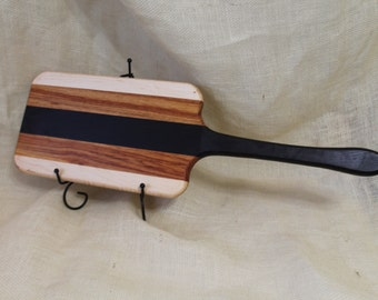 Maple, Wenge and Canary Wood Handled Cheese / Bread Board Striped with Hardwoods