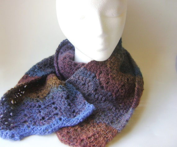 Crochet Stripe Scarf, Wool Blend, Multicolored Blue Brown Mauve Womens Scarf Lace