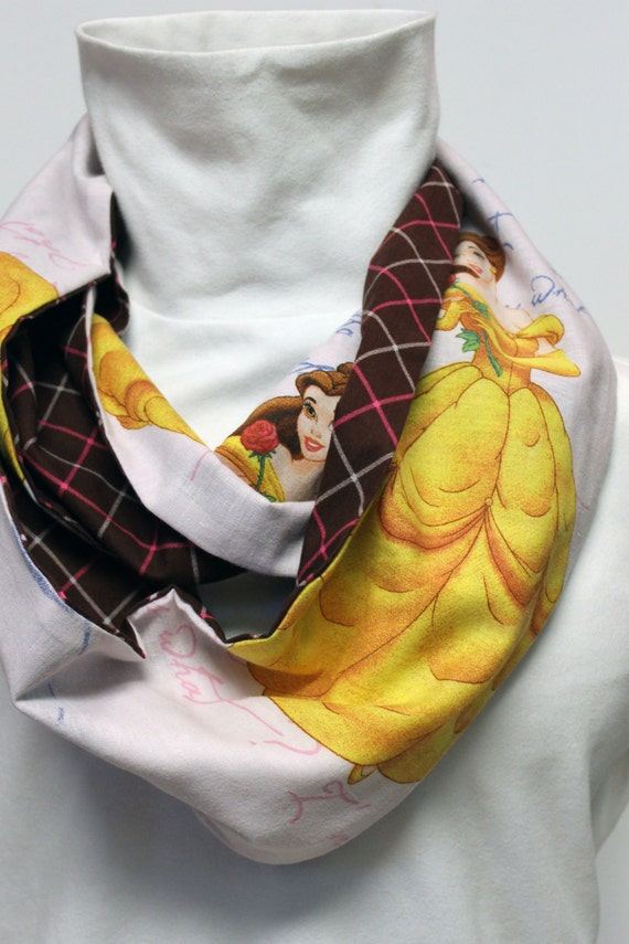 Disney Beauty and The Beast Infinity ZIPPER Pocket Scarf