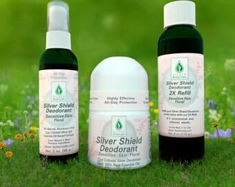 Silver Botanicals' Silver Shield Deodorant - Floral Scent (Sensitive Skin Formula), All- Natural, Aluminum-Free, Colloidal Silver Deodorant