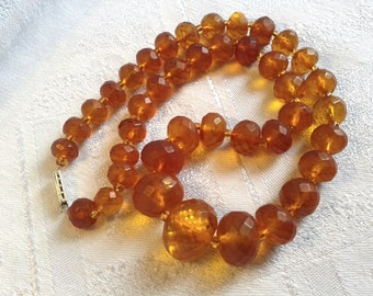 Reduced Price. Victorian Faceted Genuine Honey Amber Bead Necklace.
