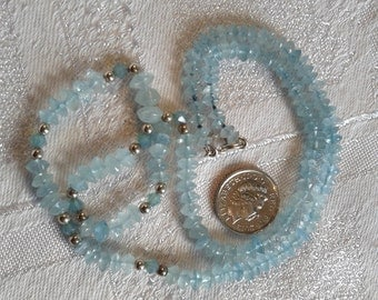 Aquamarine and Sterling Silver Bead Necklace. OOAK