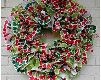 Vinyl Polka Dot Christmas Tablecloth Ruffled Mesh Wreath