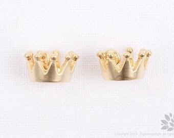 P734-MG//Matt Gold Plated Mini Crown Pendant, 4 pcs