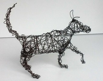 Unique Dog Sculpture - PAW UP - Wire Sculpture
