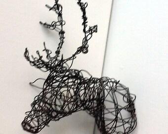 Unique Wire Deer Sculpture - DEER HEAD VII
