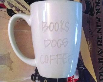 BOOKS DOGS COFFEE Mug