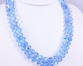 Blue Crystal Necklace 2 Strands Blue Aurora Borealis Crystals 1950's Glamour