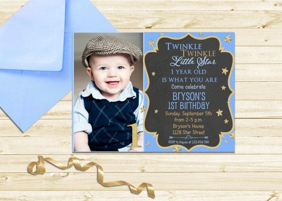 Twinkle Twinkle Little Star Invitation First Birthday Invite Boy Twinkle Invitation Chalkboard Invite Printable