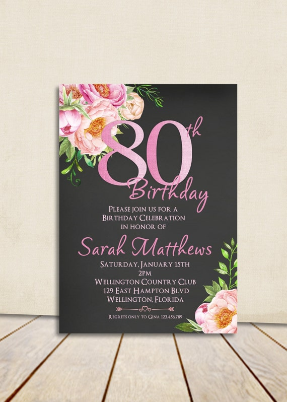 80th Birthday Invitation Any Age Adult Vintage Invite Floral Rose