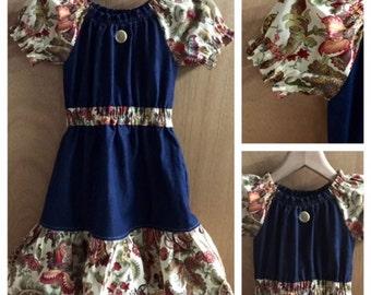 Denim and Cotton Boho Style Fall/Winter Dress, girls size 6