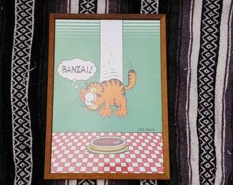 "Vintage 1978 Garfield ""Banza"" Framed Wall Hanging"