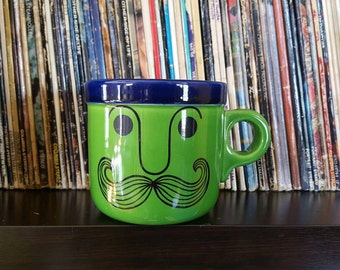 Vintage Mustache Mug Peter Max Inspired Color Block Green And Blue