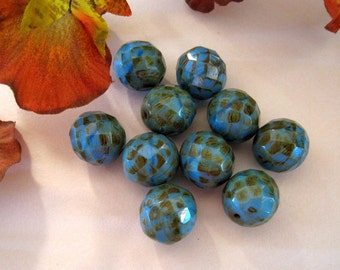Blue And Brown Rust Czech Glass Round Beads - Faceted - 13mm Round - Set of 10