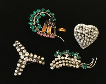 Vintage destash jewelry parts, rhinestone brooches pins