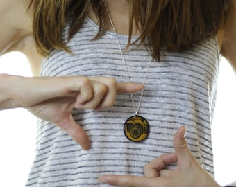 Yellow Camera Wood Pendant Necklace // Silver Plated Long Chain // Gift for Her