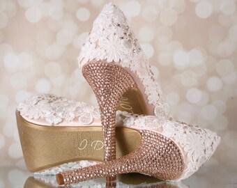 Ivory Lace Wedding Shoes, Platform Bridal Shoes, Peep Toes, Gold Wedding Shoes, Crystal Wedding Shoes, Lace Wedding, Custom Wedding, Blush