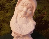 "16.5"", Large,Vintage, Girl Gnome, Suise, Fairy Garden, Garden Statue, Garden Ornament,Yard Ornament,Ready to paint,Ceramic bisque, u-paint"
