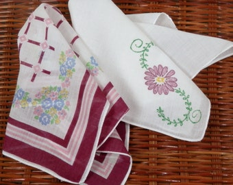 Two Vintage Ladies Handkerchiefs Maroon Purple Graphic Design and Pink Yellow Blue Flowers on Dainty White Cotton